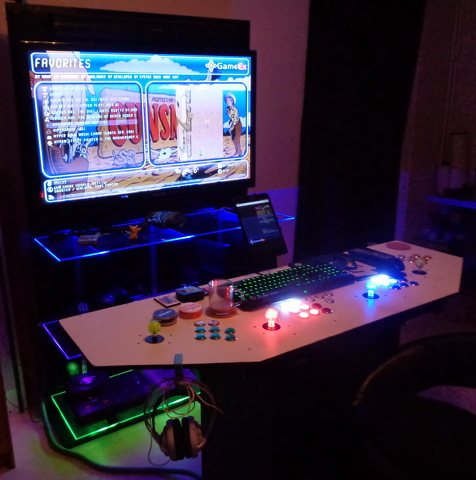 Four player custom build computer core with led buttons.