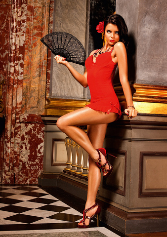 MESH CHEMISE WITH BOWS OS RED