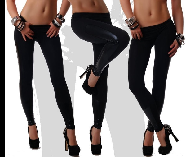 Svarta Leggings i Skinnimitation
