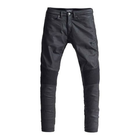 PANDO moto MC-jeans Kusari Black Waxed Skinny Fit (Svarta)