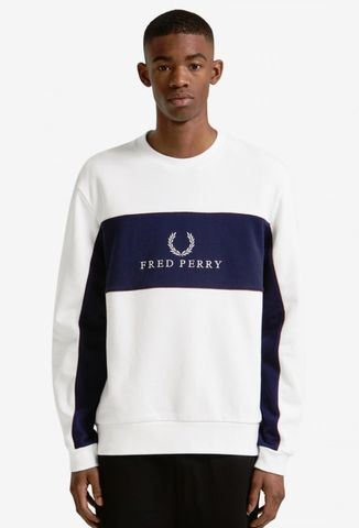 Fred Perry Panel Piped Sweatshirt White