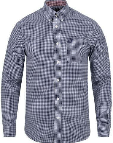 Fred Perry Classic Gingham Shirt Medieval Blue