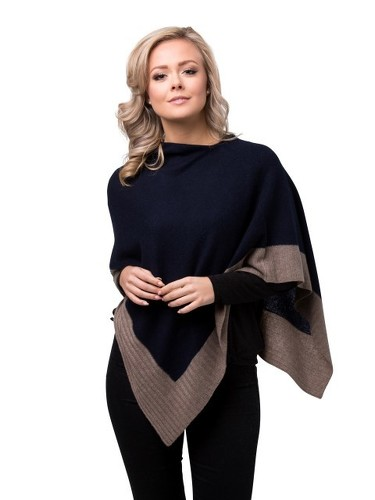 8design Rib Small Poncho Dark Blue Beige